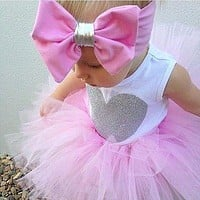 3 Pcs Baby Girl Heart Top, Tutu Skirt, and Matching Headband Set