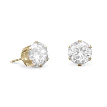 14 Karat Gold 8mm CZ Stud Earrings