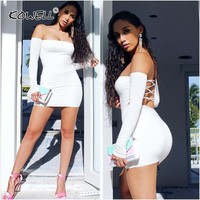 Women Sexy Off Shoulder Bandage Dress Long Sleeve Fall Winter Vestidos De Fiesta Slim Fit Backless Bodycon Sexy Party Dresses