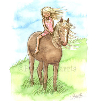 Horse Girl - Wall Art Print for Horse Lovers - Custom hair color to fit your decor needs