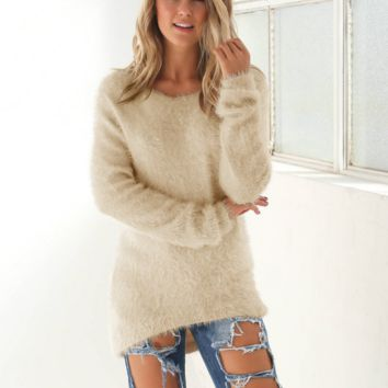 Fashion Solid Color  Long Sleeve Sweater Coat Great Gifts