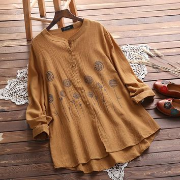 2018 Autumn Women Vintage O Neck Long Sleeve Blouse Casual Loose Floral Cotton Linen Top Buttons Down Shirt Blusas Plus Size
