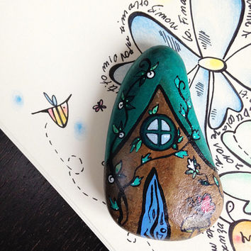 Mixed media paperweight - Artistic handpainted fairy stone house - Home and office decor - Fairy Garden
