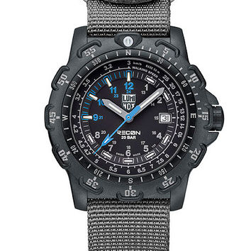 Luminox Mens Metric Recon Point Man - Black Dial w/ Grey and Blue - NATO Strap