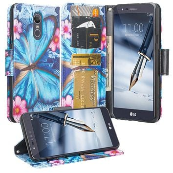 LG Stylo 4 Case, Stylo 4 Wallet Case, Wrist Strap Pu Leather Wallet Case [Kickstand] with ID & Credit Card Slots - Blue Butterfly