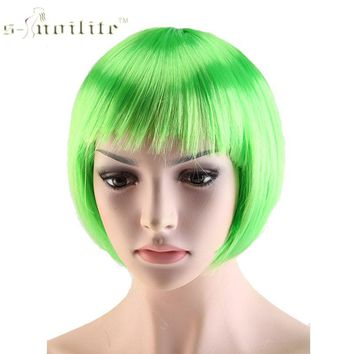 SNOILITE Halloween Short Synthetic Hair Straight Full Bob Wigs Style for Cosplay Party 12 Color Available