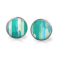 Abstract Earrings Turquoise Silver Plated Glass Stud Post Earrings Teal Geometric Earring Blue Green White Turquoise Unique Hipster Jewelry