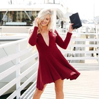 Under The Mistletoe Skater Dress in Burgundy