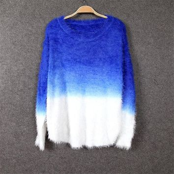 2017 Autumn Winter Knitted Mohair Sweater Women Jumper O-Neck Sweater Loose 100% Fluffy Wool Women Sweaters And Pullovers C2320