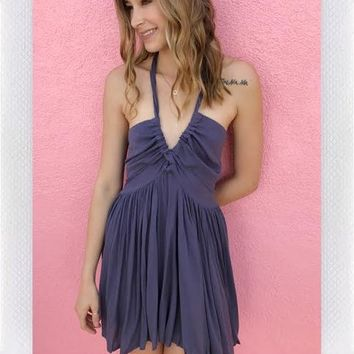 WASTED TIME TWIST DRESS- NAVY from shopoceansoul