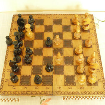 Vintage Board game chess set pyrography Large size wooden box chess game kids gift