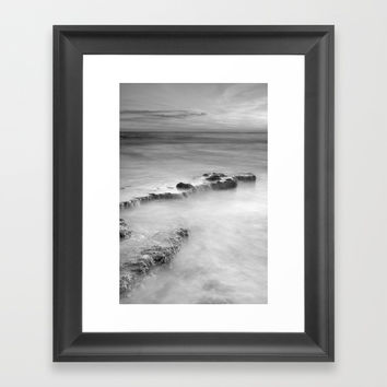 waterfalls on the rocks. M Framed Art Print by Guido Montañés