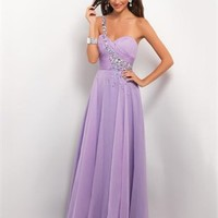 Gorgeous One Shoulder  Strapless Pleated and Beaded Chiffon Prom Dress PD2147