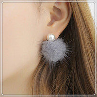 2015 design fashion jewelry Hook stud earring double Imitation pearls Winter Collection Imitation rabbit hair earring for women