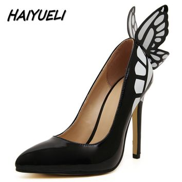 HAIYUELI New dream Butterfly women pumps high heels shoes woman fashion brand star pointed toe Catwalk party wedding stilettos