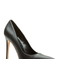 Black Faux Leather Pointy Toe Classic Pumps