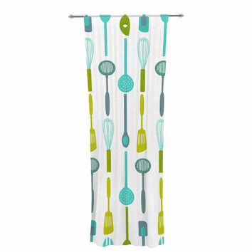 "afe images ""Kitchen Utensils"" Olive Illustration Decorative Sheer Curtain"