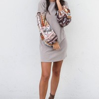 Just Lucky Gypsy Sleeve Tan Dress