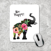 Quote Mousepad, Be Happy Mouse Pad, Watercolor Mouse Mat, Elephant Mousepad, Custom Mousepad, Floral Mouse Pad, Inspirational Quote Mousepad