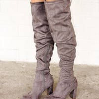 Kenzy Over The Knee Boots Grey