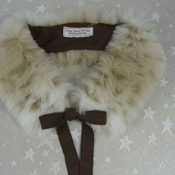 Faux Fur COLLAR, Fur Scarflette with satin ribbon ties, Women's Fur Neckwarmer, Snow Leopard Fur Collar