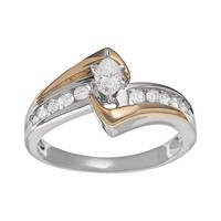 Cherish Always Marquise-Cut Diamond Engagement Ring in 10k Gold Two Tone (1/2-ct. T.W. )