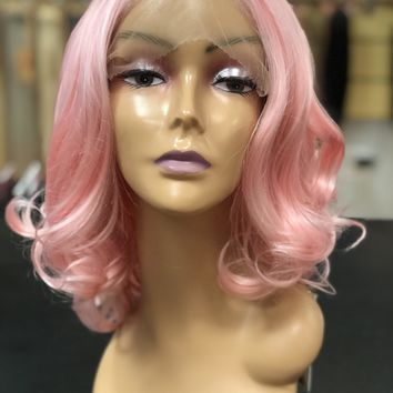 Baby Pink Short Bob Wig For Women Heat Safe Glueless Synthetic Hair Lace Front Wigs For Cosplay Party Replacement Full Wigs 12 inches