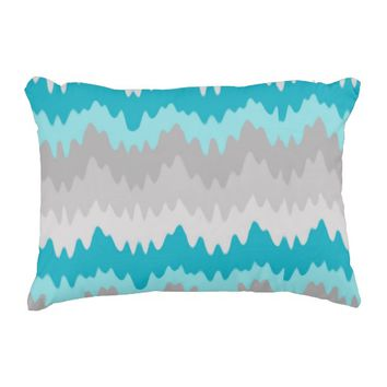 Teal Turquoise Blue Grey Gray Chevron Ombre Fade Decorative Pillow