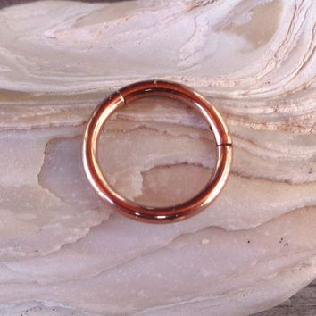 Hinged Segment Ring,Seamless,Endless Septum Ring,Tragus Piercing Jewelry,Helix,Cartilage,Scaffold,Upper Ear,Segment Ring,Lip Ring,Nipple Ring,Endless Hoop Earring Color Rose Gold.16 Gauge(1.2mm).Diameter:8mm