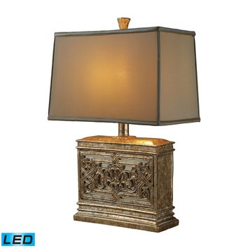 D1443-LED Laurel Run LED Table Lamp In Courtney Gold With Ria Bronze Shade And Cream Liner - Free Shipping!