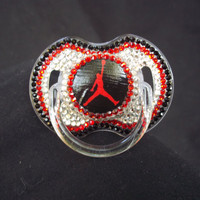 BLINKY'S Air Jordan rhinestone pacifier by BorntoBlingBoutique