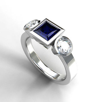 Princess cut Blue sapphire and diamond trinity engagement ring, white gold, blue sapphire ring, three stone, blue engagement, diamond, bezel