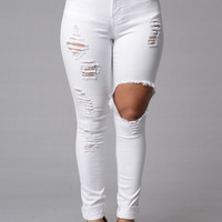 High-Waist Skinny Ripped Jeans
