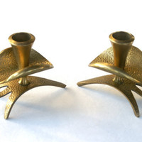 Brass Candle Stick Holders from Israel Mid Century Modern