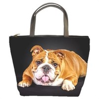 Bulldog Dog On Black Handmade Bucket Bag Handbag Leather Fabric