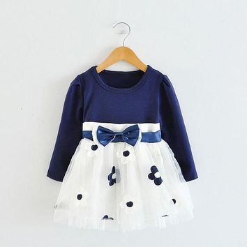 Baby Girls Dress Long Sleeve Kids Baby Princess Dress New Cotton Flower 1 2 3 Year Girls Clothes Casual Childrens Clothing