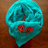Womens Embroidered Turquoise Soft Lightweight Summer Scarf/Shawl With Red Poppy Flower Design