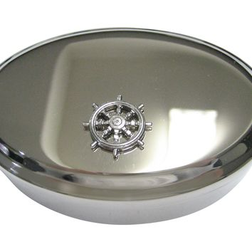 Silver Toned Textured Nautical Helm Oval Tinket Jewelry Box