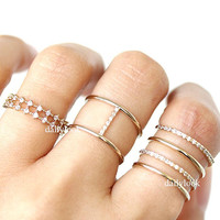 3 in 1 ring set, ring set, wedding jewelry, bridesmaid ring, woman ring, fashion jewelry,  eternity ring, trend ring, anniversary ring