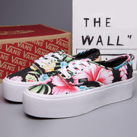 Trendsetter VANS Casual Flower Print Canvas Flats Platform Shoes