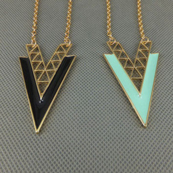 """V"" Shape Alloy Long Necklace"