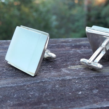 Aqua glass tile silver-plated cuff links