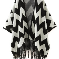 Black Chevron Pattern Batwing Sleeve Tasseled Open Front Cardigan