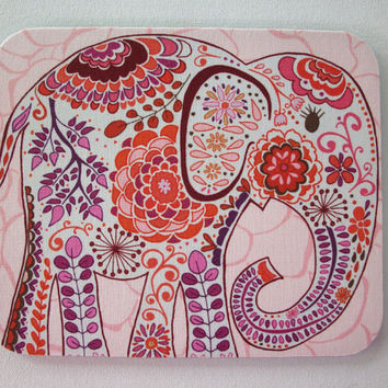 Mouse Pad mousepad / Mat - Rectangle - Pretty pink Elephant coworker friend gift desk office accessory