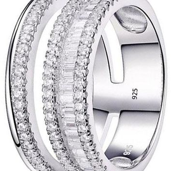 Woman White AAA Cz 925 Sterling Silver Wide Wedding Band Statement Ring Gemstone