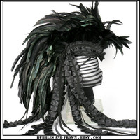 Ravens Flight... Black Feather Mohawk with Deconstructed Tapestry Train
