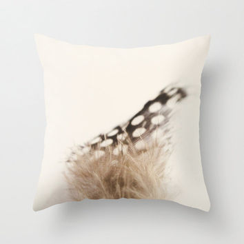 Polka Dot Black and White Feather Throw Pillow Cover Nature Home Decor Naturalist Photography Decorative Pillow Cover Accent Pillow