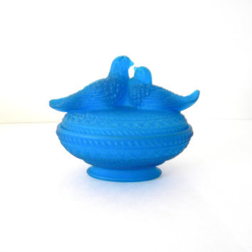 Vintage Westmoreland Blue Satin Glass Love Birds Covered Dish