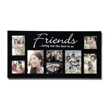 decorative black wood friends wall hanging picture photo frame collage