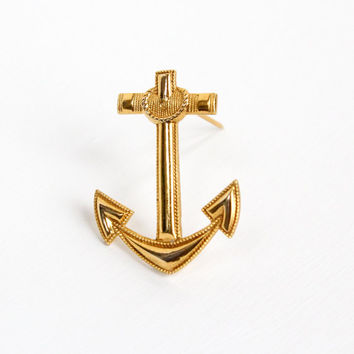 Vintage 10k Yellow Gold Filled Anchor Pin - Retro WWII Navy or Marine Military Brooch Jewelry Hallmarked Krew Uniform Accessory
